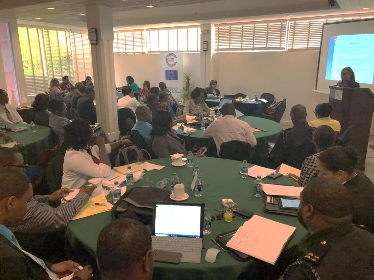 St Kitts and Nevis's training audience listens attentively while Ms. Dawne Spicer, Executive  Director CFATF delivers AML/CFT guidance.