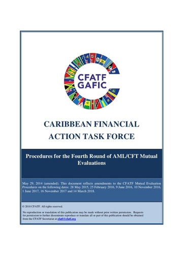 CFATF Procedures for the Fourth Round of AML/CFT Mutual Evaluations (Updated 14 March 2018)